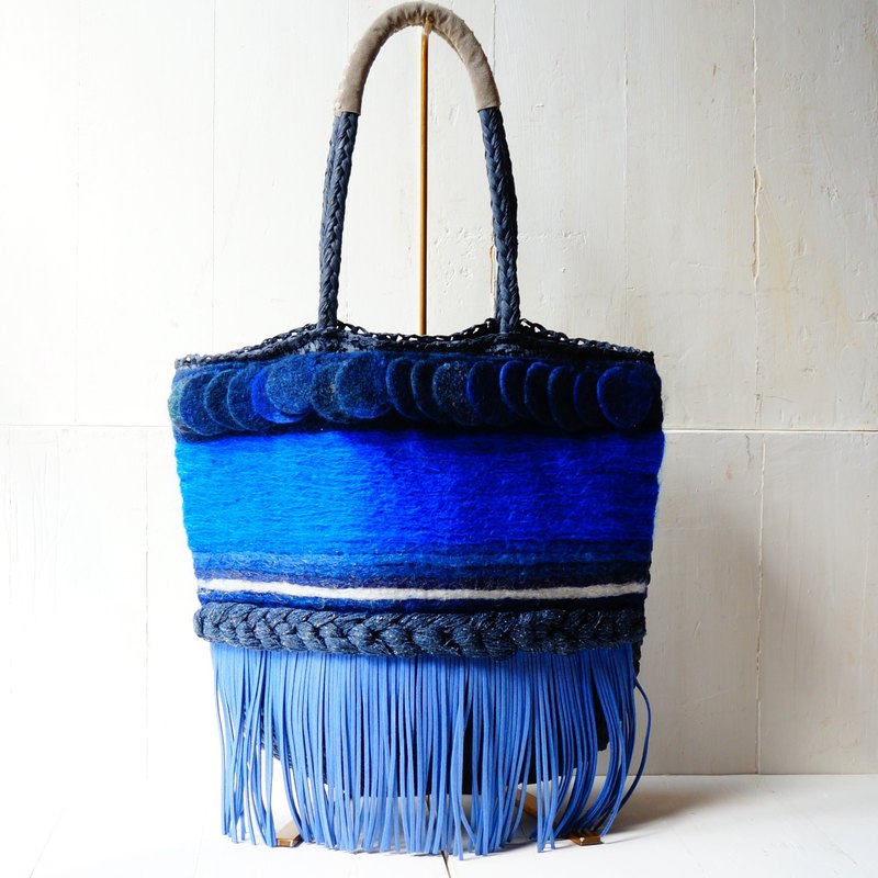 Original felt fabric and paper material tote bag.