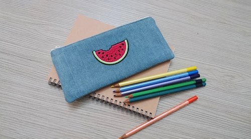 Stationery denim pencil tool bag pouch new spring and summer fruit watermelon