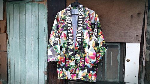 AMIN'S SHINY WORLD handmade custom original tropical jungle KIMONO smock coat