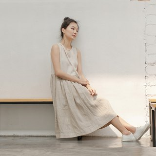 BUFU linen non-sleeves dress D180117