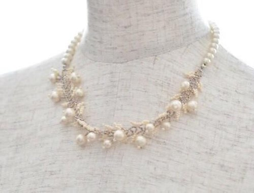 Cotton pearl leaf necklace (kisuka) cotton pearl