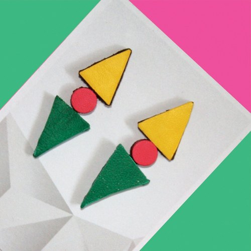 Sonniewing ∆ Geometric Stud Leather Earrings