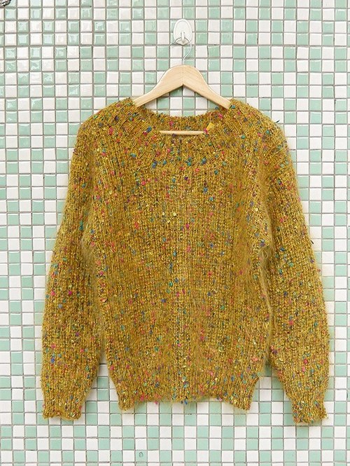 ♦♦ ◈ invincible children music vintage Japanese input line ◈ ♦♦ classic antique vintage warm yellow color stereoscopic little mohair sweater