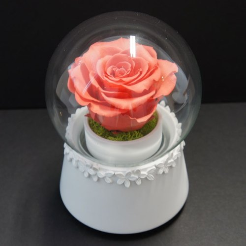 """NEW"" white lace amaranth rose glass crystal ball music Flowers & Gifts"