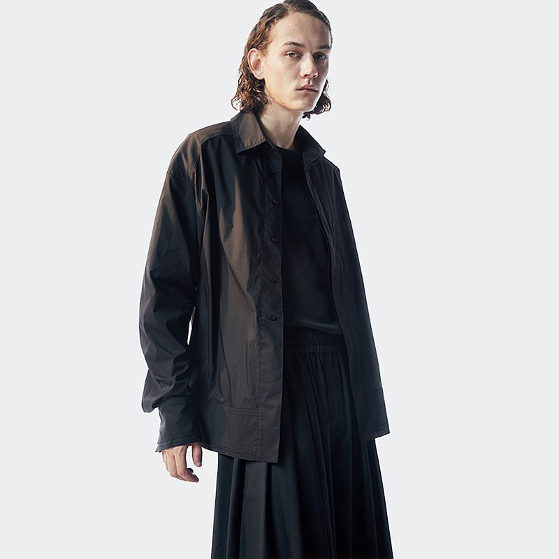 Kami anger original design black laminated concealed placket long sleeve jacket