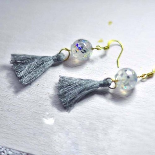 "Orgonite ""energy tower"" Earrings - white crystal"
