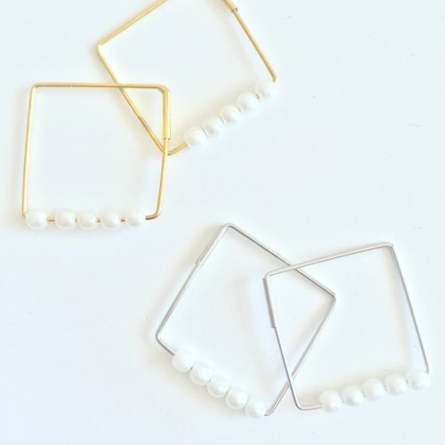 Marygo ﹝ ﹞ basket empty diamond mini pearl earrings