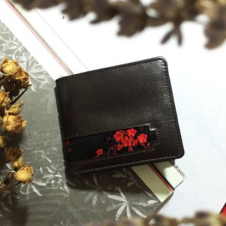 Red silk satin cloth + calf leather short clip, wallet (limited two)