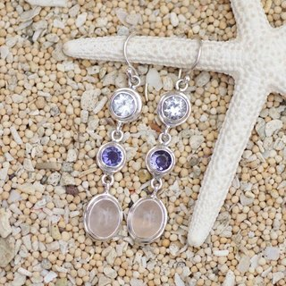 Silver earrings White Topaz and Iolite and rose quartz