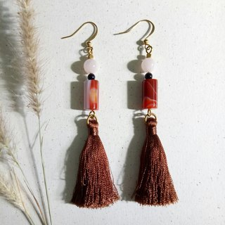<Swaying> Ice silk tassel brass earrings ear hook/ear clip