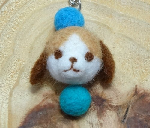 Green and Blue Beagle - Wool felt  (key ring or Decoration)