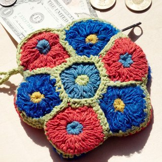 A limited edition hand-crocheted purse / storage bag / cosmetic bag - fresh and colorful flowers forest