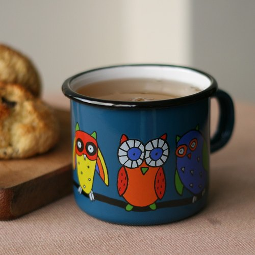Smaltum Prague enamel cup stay Meng owl _ blue-green (350ml) <FDN000372>