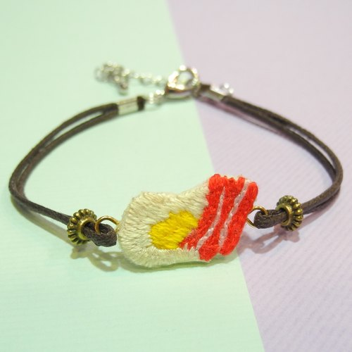 The food is embroidered bacon egg bracelet anklet