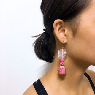 Bricks bright pink hanging earrings Earrings / ear clip