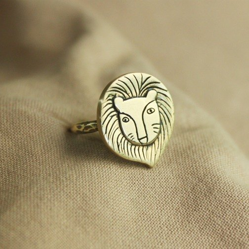 Ohappy Animal Series | Lion Brass Ring