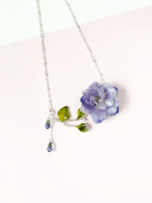 A rose - purple delphinium green leaves Tasikmalaya playing straight dual crystal flower necklace true (true three-dimensional flower)