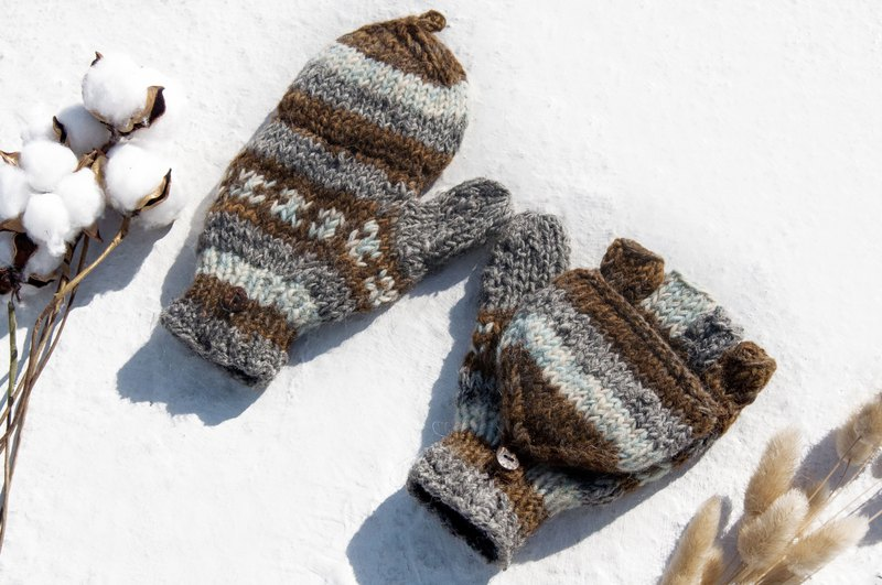 Hand knitted pure wool knitted gloves / removable gloves / inner bristle gloves / warm gloves-Sara desert