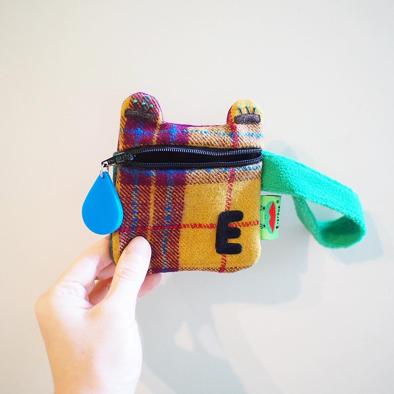 E*group A frog saliva portable coin purse wool material patchwork turmeric plaid with green handle style