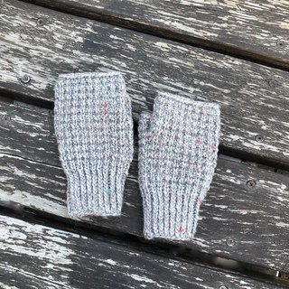 Xiao fabric hand-woven color point wool fingerless gloves gray