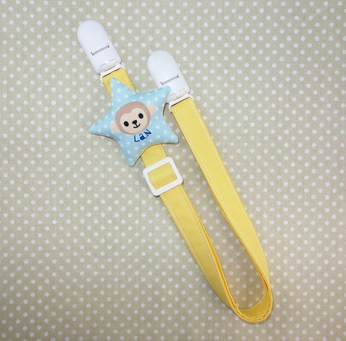 Rabbit Mint Baby monkey soft pillow stars (name custom models) anti-out chain Toys clip / bibs folder / napkin folder / Universal clip (BBC-M004)