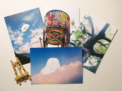 Kuka quietly painting / Multifunctional Storage postcards / illustrator into 4 groups