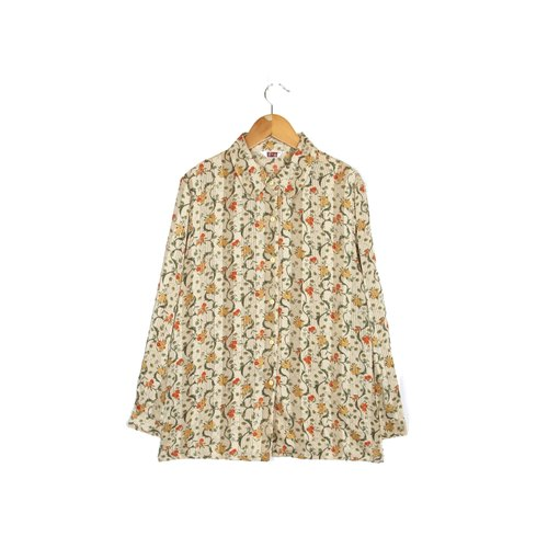 [Egg plant ancient] curved flower rattan printing ancient shirt