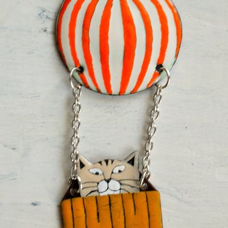 White Cat In Air Balloon, Enamel Necklace, Cat Jewelry, Cat Necklace, Orange,