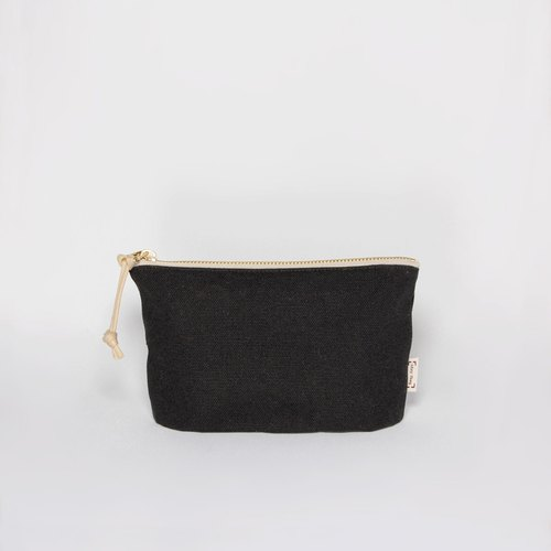 Thick canvas zipper bag mysterious black