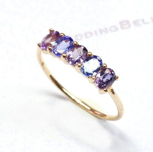 18K Rose Gold / Purple Colored Sapphire with tanzanite Stackable Ring / Oval (free shipping)