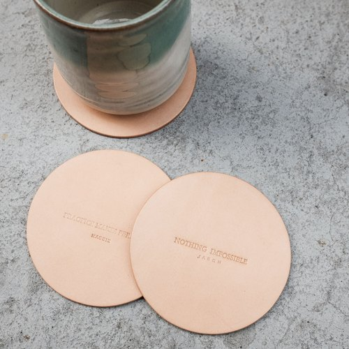 [] Words of Kyrgyzstan .co coasters / circular / limited edition hand-made / leather / vegetable tanned leather / colors / 3 into the printable name