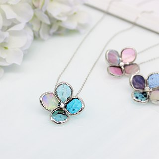 Of stained glass necklace [small flower one wheel] Blue