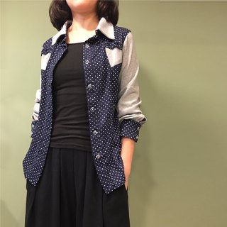 【Shirt】 shoulder line splicing shirt _ gray + blue little bit
