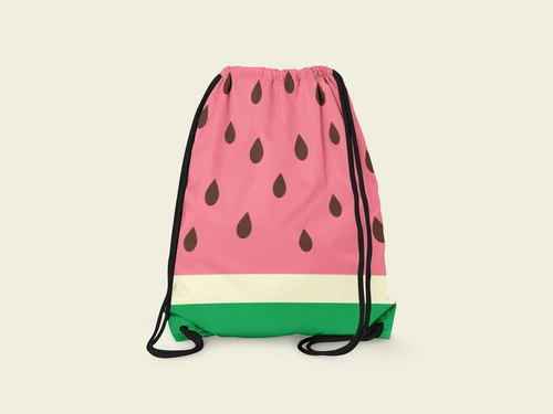Red & Yellow Watermelon | designed by Brenda Wu x Inkfool | Red & Yellow Watermelon Drawstring Bag | Backpack Bag Pouches