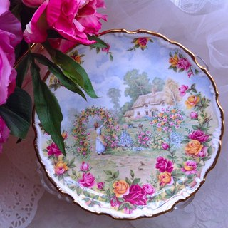 British bone china Royal Albert 22k gold-plated country rose limited edition cake plate snack tray