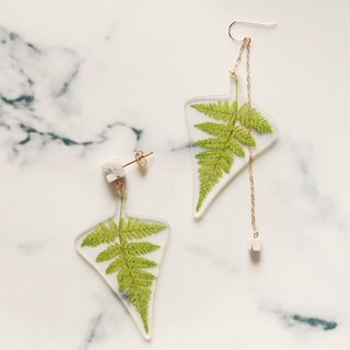 NoMatch Irregular designed tropical plants original hand-painted illustration Fern gold-plated asymmetrical earrings