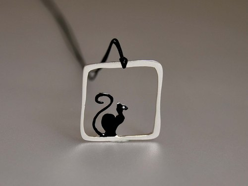 [925] black cat clavicle silver frame pendant necklace square pendant with cotton rope I'll just quietly watching you cat Cat Series N151 | Greek original handmade jewelry This and That