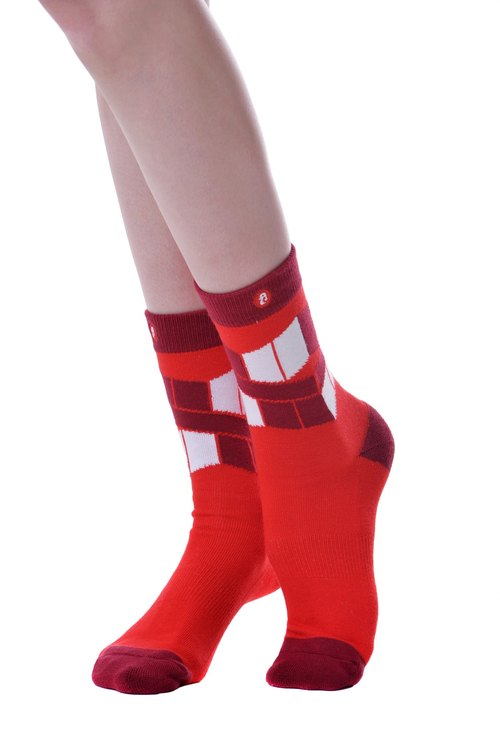 Hong Kong Design | Fool's Day knitting socks -The Flag Red - 00194