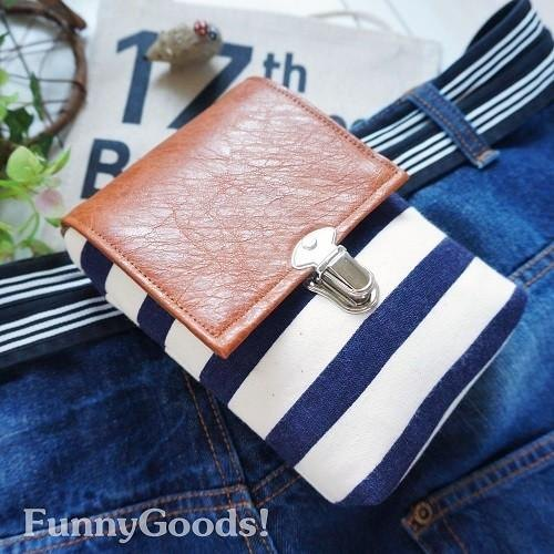 Smartphone & cigarette case / Marine navy blue border chalk bag