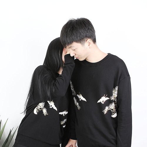 Shaoyaoju original design round neck sweater couple crane series