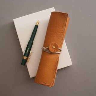 """RENÉE"" retro styling styling pen / pencil case / pen storage plant tanning carving leather / plant tanning / vegetable tannage yellow"
