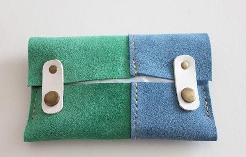 Leather of tissue case / suede Green × Blue