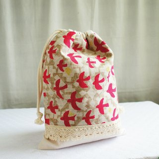 Lovely Japanese cotton and linen [Flying Bird Lace TN Notepad Pocket Pocket Bag] can be loaded with long clips with lining
