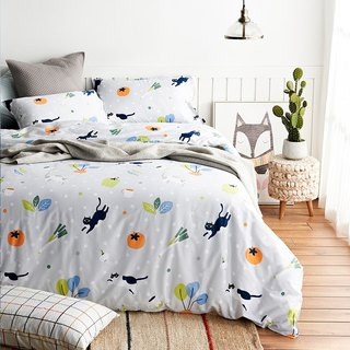 Vegetable dish pillowcase + quilt cover two-piece single double original hand-painted cat 40 cotton bed package