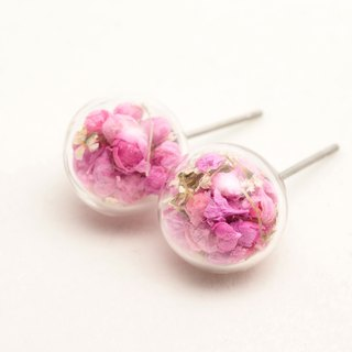 Dried Flower - Glass Globe- Earrings- Drop Earrings - Drop Clip on Earrings - Clip Earrings