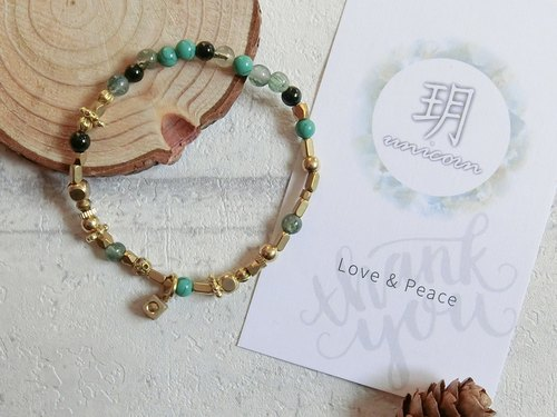 Golden forest original natural stone beaded green brass bracelet - Yue. Unicorn - natural stone brass