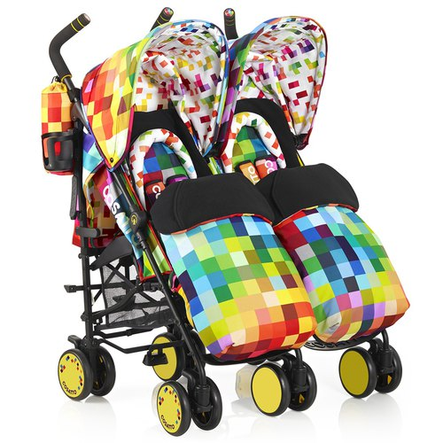 British Cosatto Supa Dupa double baby carriage - Pixelate