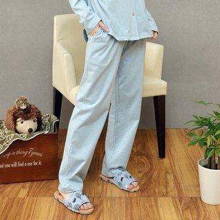 Organic cotton drawstring loose home pants (Twisted Blue)
