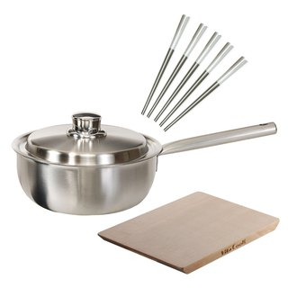 Goody Bag-[福袋] skillfully use pot 20cm + spruce cutting board (large) + petal stainless steel chopsticks 5 into (white