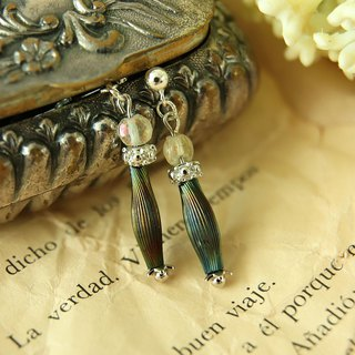 Limited France Vintage Earrings Elegant France Glass Beads SV925 Pierce Clips OK
